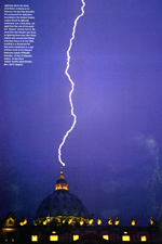 Getty images shot of lightning striking St Peter's dome in Rome, scanned in from FT 300