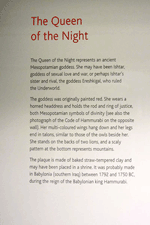 Birish Museum plaque for Queen of the Night display, photo by Jim McPherson, 2012