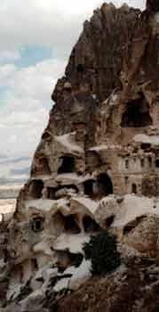 Full shot of the Man as the Moon cliff, photo taken in Cappadocia by Jim McPherson, 2003