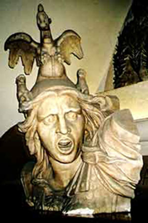 Bust reminiscent of Helios and All of Incain, photo by Jim McPherson, Paris, 2004