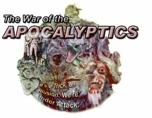 Collage featuring character likenesses of the Primary Apocalyptics, prepared on PHOTOSHOP by Jim McPherson, 2004