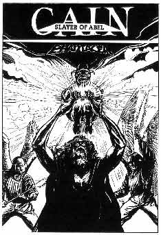 Proposed Front Cover for a PHANTACEA publication entitled Cain, Slayer of Abel, artwork by Ian Fry, ca 1988