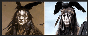 Depp's version of Tonto, Sattler's painting of a hekoya, images taken from Web
