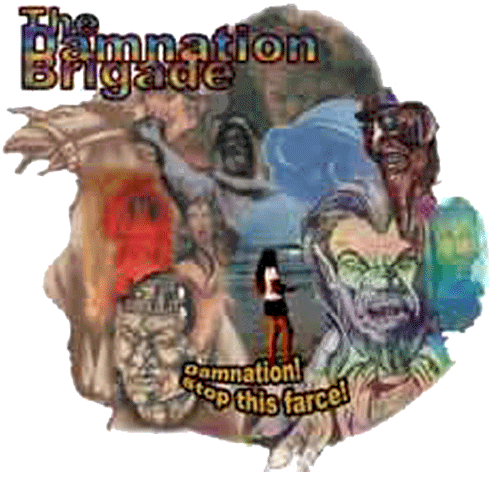 Collage containing images of various members of the Damnation Brigade, prepared on PHOTOSHOP by Jim McPherson, 2004