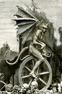 Diablerie of a devil riding a unicycle, scanned in from FT 346