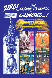Ad for full length novels and thre graphic novel, prepared by Jim McPherson, 2012