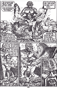 Demon Land pins Devil Wind's feet to the ground, arrives on Damnation Isle, artwork by Ian Bateson, 1985/6
