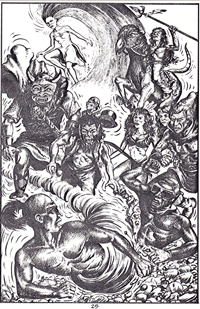 Devil Wind seeks to flee the newly christened Damnation Brigade, artwork by Ian Bateson, 1985/6